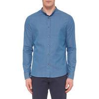 Ginston Grandad Collar Shirt Blue
