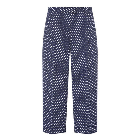 Cropped Polka Dot Trousers Navy