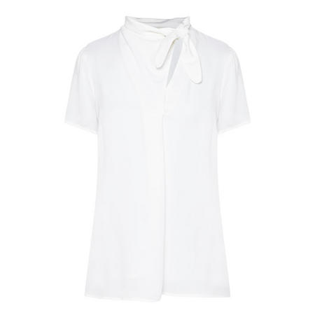Silk Tie-Neck Top White