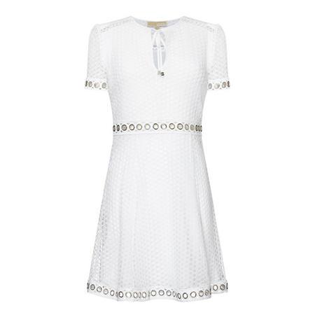 Lace V-Neck Dress White