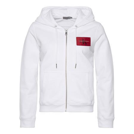 Zip Front Logo Hoody White