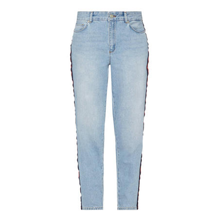Straight Fit Side Panel Jeans Blue