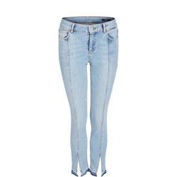 Front Slit Skinny Jeans Blue