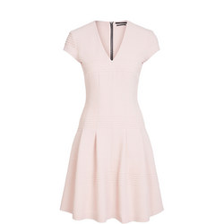 Textured Fit & Flare Dress Pink