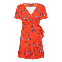 Floral Ruffled Wrap Dress Red