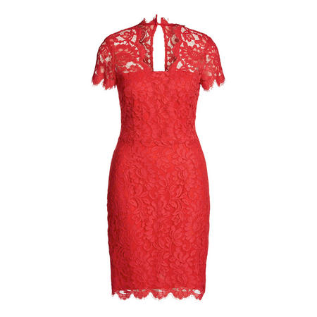 Lace Short Sleeve Dress Red