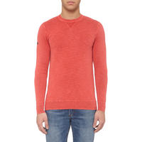 Garment Dyed LA Crew Neck Sweater Red