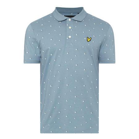 Beachball Print Polo Shirt Blue