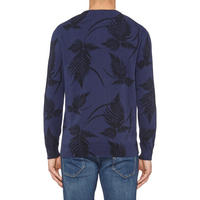 Fern Print Crew Neck Sweater Navy