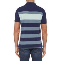 Textured Striped Polo Shirt Navy