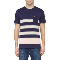 Striped Colour-Block Pocket T-Shirt Navy