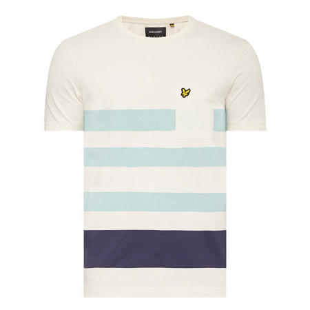 Striped Colour-Block Pocket T-Shirt White