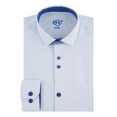 Boys Micro Dot Print Shirt Blue