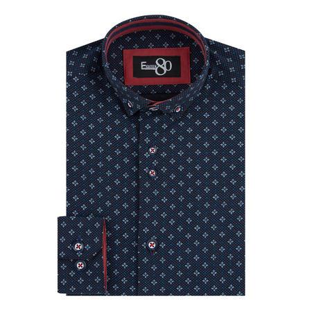 Boys Diamond Print Shirt Navy