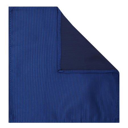 Boys Self Stripe Ribbed Pocket Square Blue