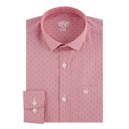 Boys Square Print Shirt Red