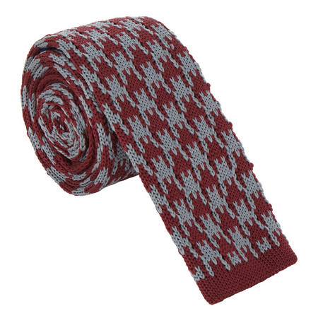 Knitted Check Tie Red