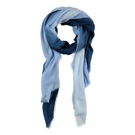 Two-Tone Fringed Scarf Navy