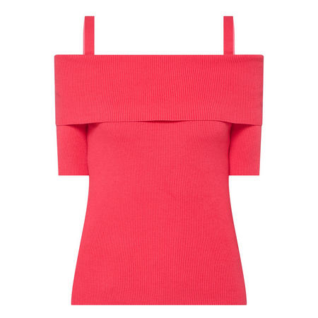 Off-The-Shoulder Ribbed Sweater Pink