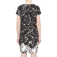 Leaf Print Shift Dress Black & White