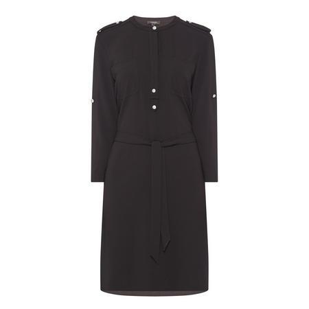 Round Neck Shirt Dress Black