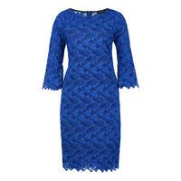 Valance Cuff Lace Dress Blue