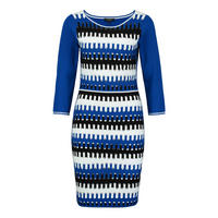Openwork Stripe Dress Blue