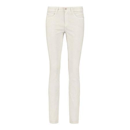 Snake Skin Straight Leg Jeans Cream