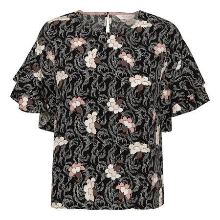 Kris Flounce Sleeve Blouse Black