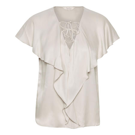 Kelsey Flounced Lace-Up Blouse Cream