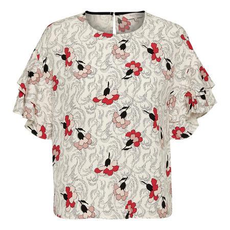 Kris Flounce Sleeve Blouse Red