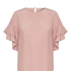 Kris Flounce Sleeve Blouse Pink