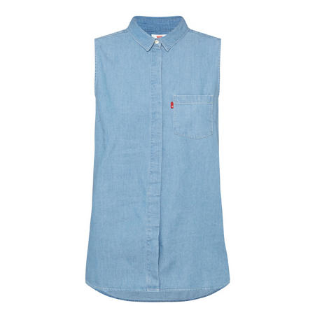 Coralie Sleeveless Denim Shirt Blue