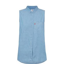 Coralie Sleeveless Denim Shirt Blue