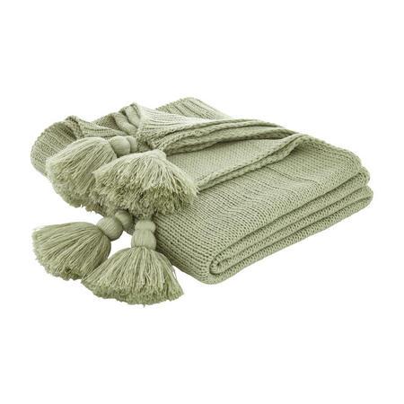 Cottonsoft Tassel Knit Throwver Green