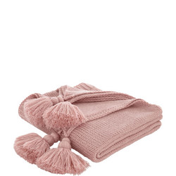 Cottonsoft Tassel Knit Throwver Pink