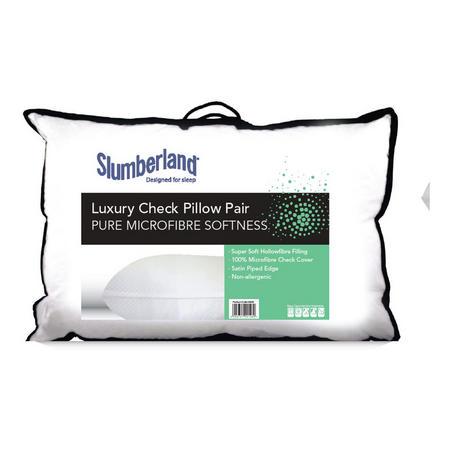 Luxury Check Microfibre Pillow Pair