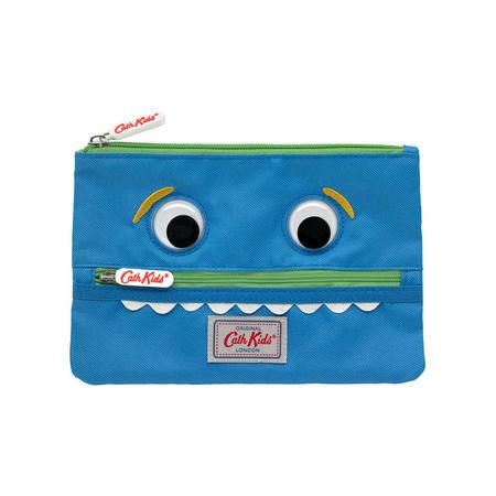 Boys Monster Double Zip Pencil Case Blue