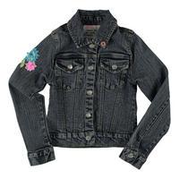 Flower Detail Denim Jacket Navy