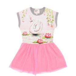 Girls Swan Tulle Dress Pink