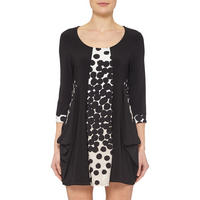 Polka Dot Panel Dress Black