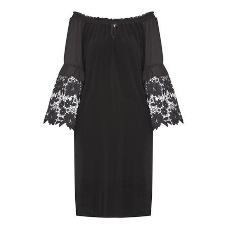 Floral Bell Sleeve Dress Black