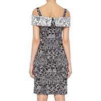 Floral Pattern Bardot Dress Black