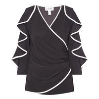 Frilled Sleeve Wrap Top Black