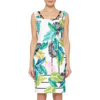 Leaf Print Dress White