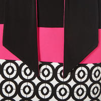 Patterned V-Neck Dress Black