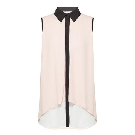 Contrast Trim Sleeveless Blouse Pink