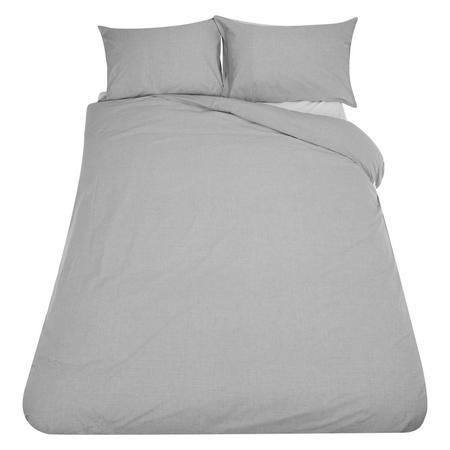 Coastal Chambray Duvet Cover and Pillowcase Set Grey