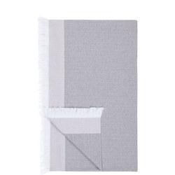 Croft Collection Cotton Herringbone Throw Grey