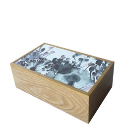 Croft Wooden Oak Jewellery Box with Flower Print Lid Natural